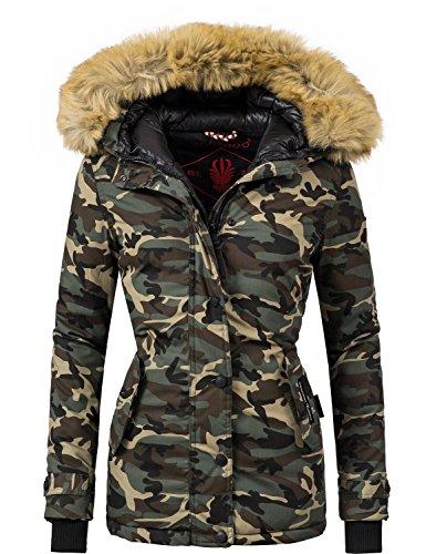 eb8ddfe12ba06a Navahoo Damen Jacke Winterjacke Winterparka Laura vegan hergestellt 6  Farben Camouflage XSXXL Camouflage