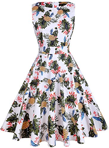ihot Women's Vintage 1950s Classy Rockabilly Retro Floral Pattern Print Cocktail Evening Swing Party Dress, M, 20-white Pineapple