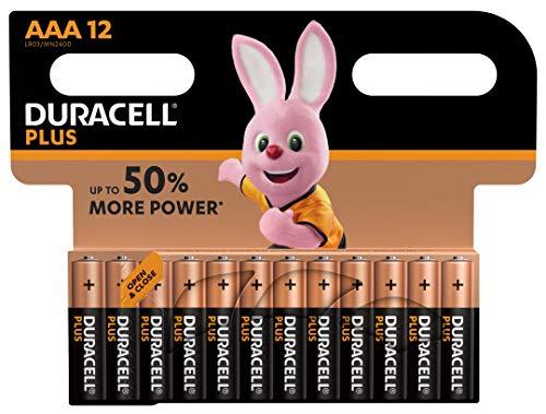 Duracell - Plus AAA, Pilas Alcalinas (paquete de 12) 1,5 Voltios LR03...