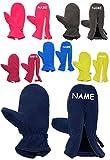 Unbekannt Fleece Fausthandschuhe - Größe: 3 bis 5 Jahre - incl. Namen - mit Reißverschluß -  hellblau / Enzian blau  - LEICHT anzuziehen ! mit Daumen - Fleecehandschu..
