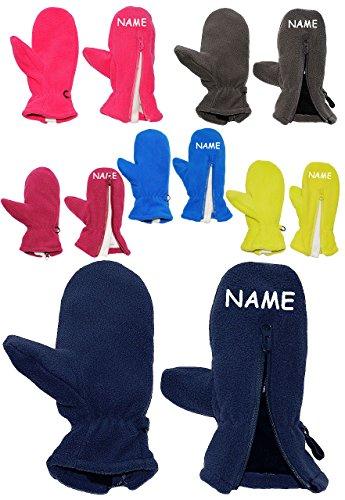 """Fleece Fausthandschuhe - Größe: 3 bis 5 Jahre - incl. Namen - mit Reißverschluß - """" hellblau / enzian blau """" - LEICHT anzuziehen ! mit Daumen - Fleecehandschuhe / Kinder & Babyhandschuhe - Fausthandschuh Handschuh Fäustling - Mädchen Jungen Handschuhe / Thermo - Kinderhandschuhe - Fäustlinge"""