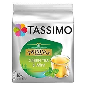 TASSIMO Twinings Thé Vert à La Menthe, Green Mint Tea, 16 T DISCs (Pack of 1, Total 16 T DISCs) Large Cup Size