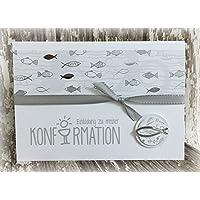 Einladung Einladungskarte Kommunion Konfirmation Fisch Fische personalisierbar blau silber silberglänzend grau