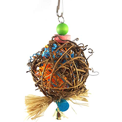 Catkoo Bird Accessories, Lovely Cane Ball Scrip Biting Chewing Pet Parrot Bird Toy Hanging Cage Decor - Random Color
