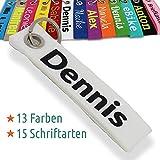 LALALO Schlüsselanhänger aus Filz mit Namen, Schlüsselband Personalisierte Geschenkidee mit Aufschrift oder Wunschtext für Geburtstag Weihnachten (Weiß)