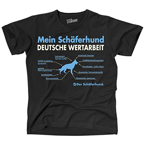 Siviwonder Unisex T-Shirt Deutscher SCHÄFERHUND Wertarbeit Teile Auto Hunde Schwarz XXL -