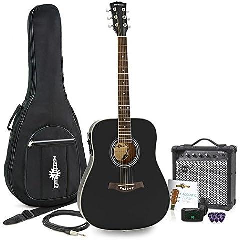 Guitarra Electroacústica Dreadnought Thinline + Pack de Ampli 15W Negro