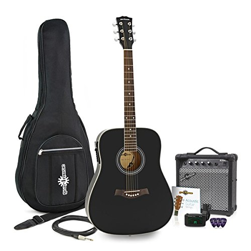 Dreadnought Thinline Elektro-Akustik-Gitarre + 15W Amp Pack schwarz (Dreadnought Acoustic Gitarre Pack)