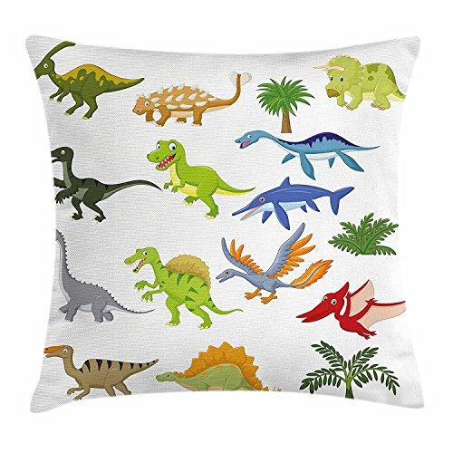 DCOCY Funda de cojín, diseño de dibujos animados de dinosaurios con otros elementos de las criaturas bonitas de Jurassic Fauna, cuadrada decorativa, 45,7 x 45,7 cm, multicolor