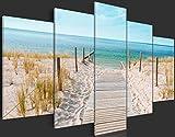 Bilder 200×100 cm – 3 Farben zur Auswahl – XXL Format – TOP – Vlies Leinwand – 5 Teilig – Wand Bild – Kunstdrucke – Wandbild – Meer Strand Natur Landschaft c-B-0051-b-n 200×100 cm - 3