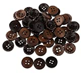 #9: Phenovo 50 Pieces Wooden Flatback 4 Holes Buttons for Sewing Clothing Buttons Repair 15mm