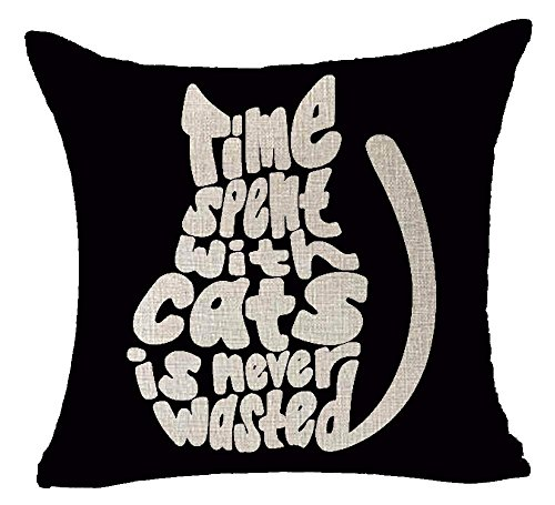Time Spent with Cats is Never Wasted Time Black Background Cotton Linen Decorative Home Office Throw Pillow Case Cushion Cover Square 18X18 inches (Tower Cat Zubehör)