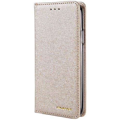 iPhone X,iPhone XS Handy Hülle Tasche Flip Case Kredit Karten Fach Geldklammer Leder Handy Schutzhülle Unsichtbar Magnet Verschluss Standfunktion,Leichtes Gold - Fach-leder Tasche