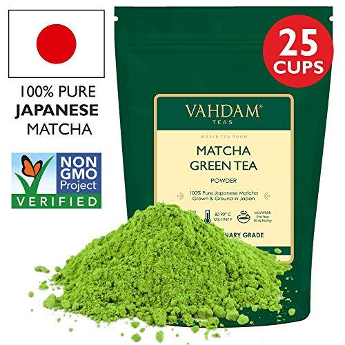 VAHDAM, Matcha Green Tea Powder SUPERFOOD, 50g (25 Servings) 100% Pure Authentic Japanese Matcha Powder | Classic Culinary Grade Green Tea Matcha 137x Anti-OXIDANTS | Matcha Latte Mix & Smoothies
