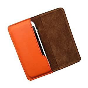 i-KitPit : PU Leather Flip Pouch Case For Lava Xolo A500S IPS (ORANGE)
