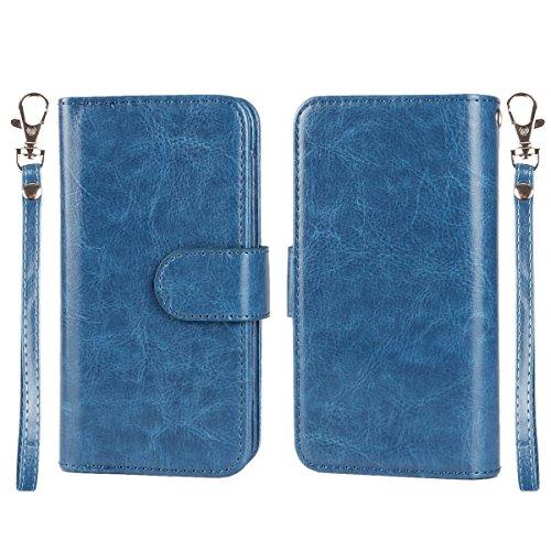 MOONCASE IPhone 6 / 6S (4.7 inch) Étui, Multifonction 2 en 1 détachables Housse en Cuir à rabat Coque de protection Folio Case avec Porte-cartes Fentes Fermeture Magnétique pour iPhone 6 / 6S (4.7 inc Bleu