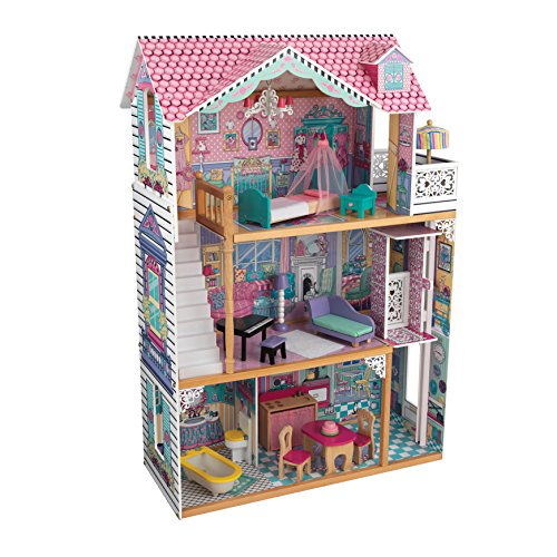 KidKraft 65934 Annabelle Wooden Dolls House with Furniture and Accessories Included (3 Storey Play Set for 30 cm/12 Inch Dolls)