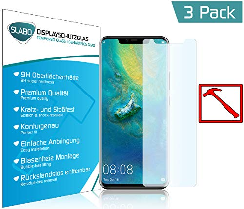Slabo 3 x Premium Panzerglasfolie für Huawei Mate 20 Pro Panzerfolie Schutzfolie Echtglas Displayschutzfolie Folie (verkleinerte Folien) Tempered Glass KLAR - 9H Hartglas