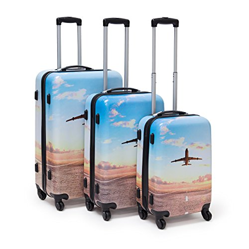 Relaxdays GmbH 3-Piece Suitcase Set Hardcase Luggage With Combination Lock, 4 Wheels Rotatable 360°, Travel Koffer-Set, 75 cm, 90 liters, Mehrfarbig...