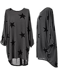 Mixlot Frauen Sterne Druck Lagenlook Übergroßen Baggy T-Shirt Damen Tops Bluse Kleid 6-22