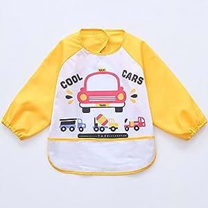 Oral-Q Unisex Bambini Arts Craft pittura grembiule bambino impermeabile Bavaglino con maniche e tasca, 6 - 36 mesi, B Auto Beige (Set di 3)