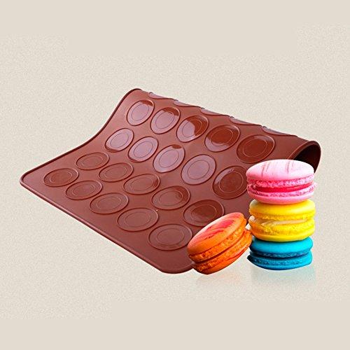 SOEKAVIA 30-capacity Macarons Mat Form zum Backen Silikon Macaron Backblech Muffin DIY Schokolade Cookie Mould Modus (Kaffee)