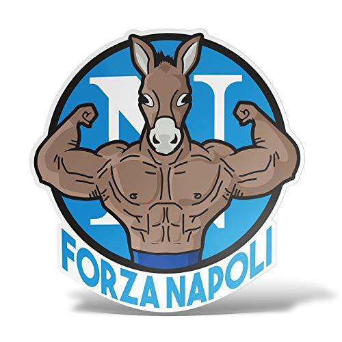erreinge Sticker Forza Napoli Supporter Calcio Ultras Adesivo Sagomato in PVC per Decalcomania Parete Murale Auto Moto Casco Camper Laptop - cm 35