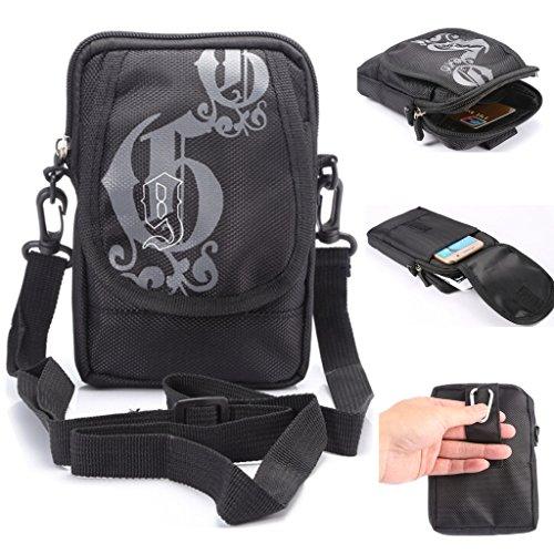 Multifunktional Sport & Outdoor Waist Pack Tasche Handy Umhängetasche Schultertasche Holster mit Gürtelclip und Gürtelschlaufe für, iPhone 6S 6Plus 5S LG HTC Samsung S5S6Edge Plus Note 54, A-Black - Samsung S5 Sprint