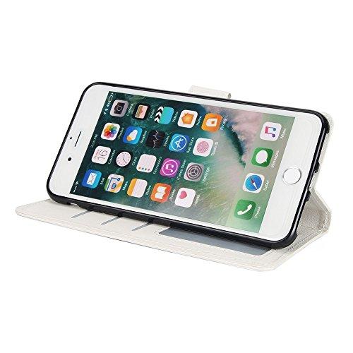 EKINHUI Case Cover Klassische verkaufte Farbe PU-lederne Beutel-Kasten-Abdeckung, Bookstyle Folio-Standplatz-Mappen-Kasten mit Karten-Schlitzen u. Lanyard für iPhone 7 Plus ( Color : Black ) White