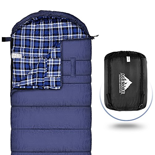 Cotton Flannel Schlafsack f¨¹r Erwachsene, XL 230 x 90CM, wasserdicht, ideal f¨¹r Backpacking, Reisen, Camping, Wandern und Outdoor-Aktivit?ten mit Kompressions-Sack