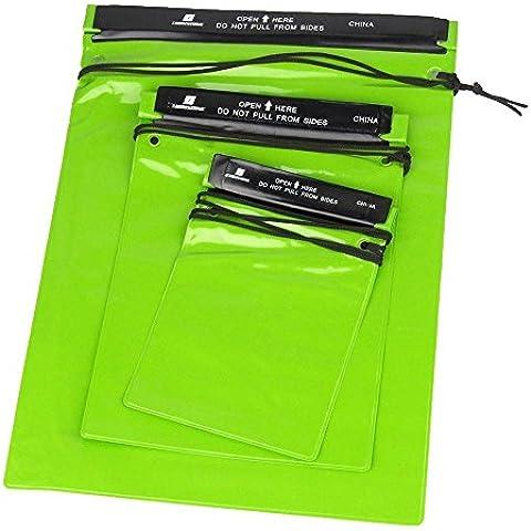 Wrone (TM) 3pcs / set lluvia de la bolsa bolsas bolsa impermeable verde para deportes al aire libre Nataci¨®n que va de excursi¨®n