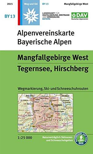 Mangfallgebirge West, Tegernsee, Hirschberg: Topographische Karte 1:25.000, Wegmarkierung, Ski- und Schneeschuhrouten (Alpenvereinskarten)