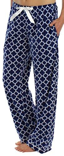 Flanell Damen Hose (Frankie & Johnny Vlies Schlafanzughose für Damn, Marinequatrefoil-XS)