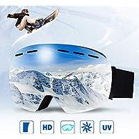 infinitoo Occhiali da Sci, Maschera da Sci Snowboard per Uomo, Donna e Gioventù Adulti| Grand Angolo Antivento Anti Fog UV 400 con Custodia Stealth-JetBlack