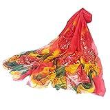 VEMOW Heißer Verkauf Elegante Frauen Damen Pfingstrose Schal Sonnencreme schal Unendlichkeit Wrap Silk Täglichen Party Workout Freizeit Schal Schals(X9-Orange, 195cmX147CM)