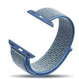 Corki Apple Watch Bracelet 38mm, Bandeau Boucle Sport Nylon Tissé Bracelet de Remplacement pour iWatch Apple Watch Séries 3, Séries 2, Séries 1, Nike+, Édition, Bleu Tahoe