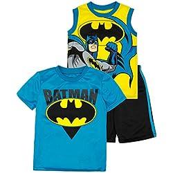 DC Comics Tenue Ensemble 3 Pièce Batman - T-Shirt, Débardeur et Short - Garçon, Jaune 5 Ans