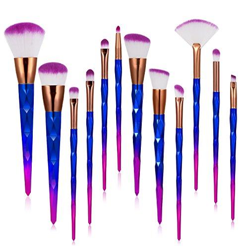 Pinceaux Maquillage Brosses de Maquillage - [Kit de 12]Ameauty Pinceaux Maquillage Professionnels Fashion de Couleurs Outils Cosmétique Poils de Fibre en Nylon pour Sourcils, Yeux, Joues