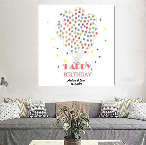 Yqgdss DIY Personalisierte Benutzerdefinierte Fingerabdrücke Unterzeichnen In Buch, Um Geburtstag Jubiläum Ballon Kreative Dekoration Kinder Geschenk 30X40Cm Zu Zeichnen