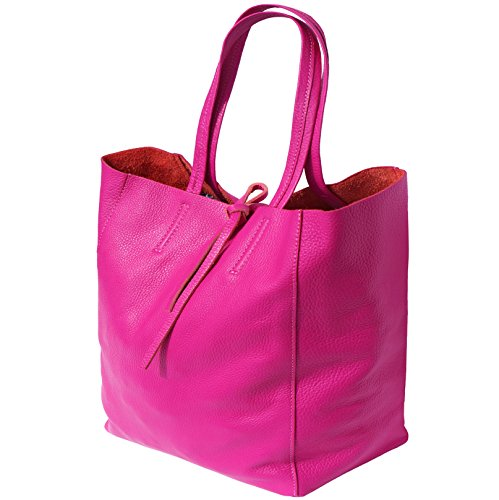 SHOPPING BAG CON LACCETTO IN PELLE 9121 Fucsia