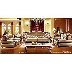 Ma Xiaoying piel auténtica, tradicional Collection juego de sala de estar (sofá, Loveseat y silla), Plata Marrón por Ma Xiaoying