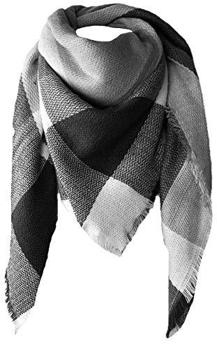 CAPRIUM XXL Damen Schal Kariert übergroßer quadratisch Deckenschal Karo Tartan Streifen Plaid Muster Oversized Fransen Poncho, Schwarz-weiß, 150 x 150 / One size