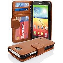 Cadorabo - Funda LG L90 Book Style de Cuero Sintético en Diseño Libro - Etui Case Cover Carcasa Caja Protección con Tarjetero en MARRÓN-COGNAC