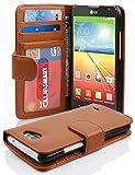 Cadorabo Hülle für LG L90 - Hülle in COGNAC BRAUN – Handyhülle mit 3 Kartenfächern - Case Cover Schutzhülle Etui Tasche Book Klapp Style