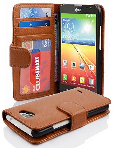 Cadorabo Hülle für LG L90 - Hülle in Cognac BRAUN - Handyhülle mit 3 Kartenfächern - Case Cover Schutzhülle Etui Tasche Book Klapp Style (Lg L90 Handy-hülle)