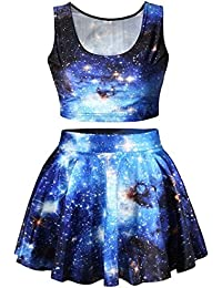 Ninimour Fashion Digital Eindruck Reversible Crop Top + Mini Rock 2 Stück altmodisch Klub Party Kleider