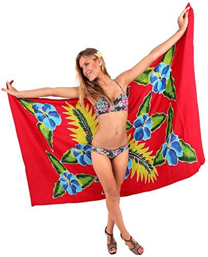 La Leela couvrir rayonne lisse peinture flore chaussures main femmes paréo 78x43 pouces rouge