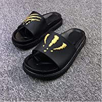 fankou Summer Men Slippers Trend Inside and Outside of The Home Bathroom Non-Slip Cool Slippers Summer,38, [Thick- Black Gold