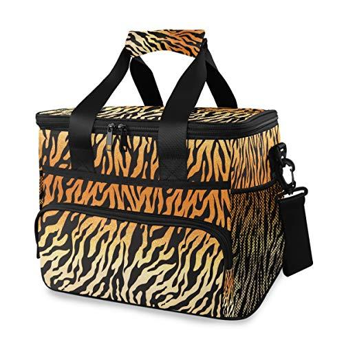 Vinlin Picknick Kühltasche Kunst Malerei Tier Tiger Groß Picknick Brotdose Korb Isoliert Mittagessen Tragetasche zum Reise Büro Schule -