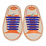 12 Pièces Lacets Elastique No Tie Lacets Imperméables Femme Homme Chaussure/Sneaker/Conseil Bottes Sans Laçage Flat Silicon Lacets Bleu Marin
